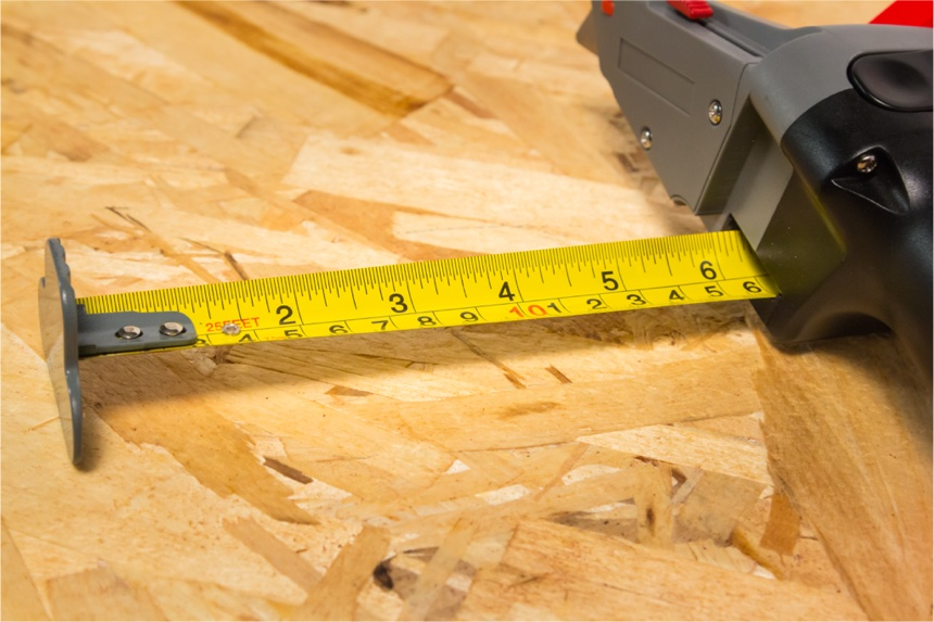 Close up of The Drywall Axe measuring tape